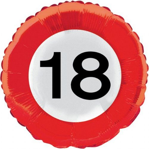Traffic Sign 18th Party Foil Balloon Packet Birthday Helium Decoration